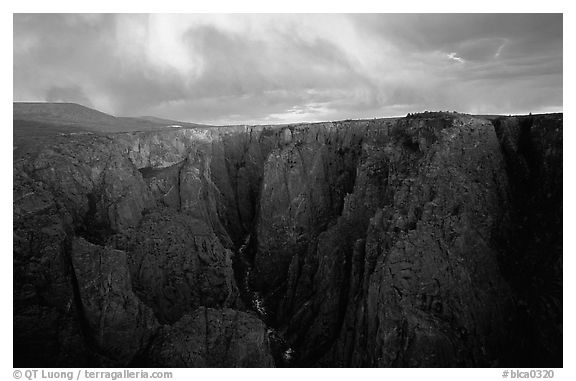 Narrows from Chasm view at sunset, North Rim. Black Canyon of the Gunnison National Park (black and white)