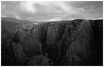 The Narrows seen from Chasm view at sunset, North rim. Black Canyon of the Gunnison National Park, Colorado, USA. (black and white)