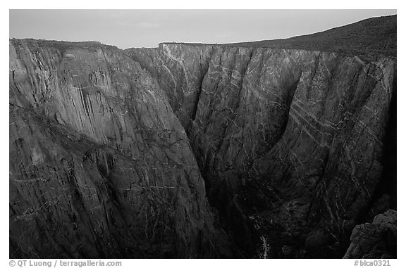 Painted wall from Chasm view at dawn, North Rim. Black Canyon of the Gunnison National Park (black and white)