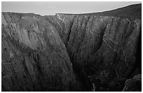 Painted wall from Chasm view at dawn, North rim. Black Canyon of the Gunnison National Park, Colorado, USA. (black and white)