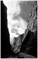 View of canyon walls from  Gunisson river. Black Canyon of the Gunnison National Park ( black and white)