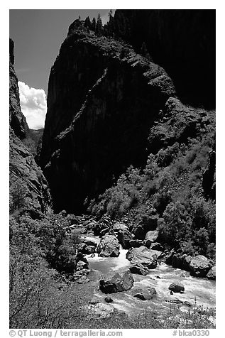 Gunisson river near the Narrows. Black Canyon of the Gunnison National Park (black and white)