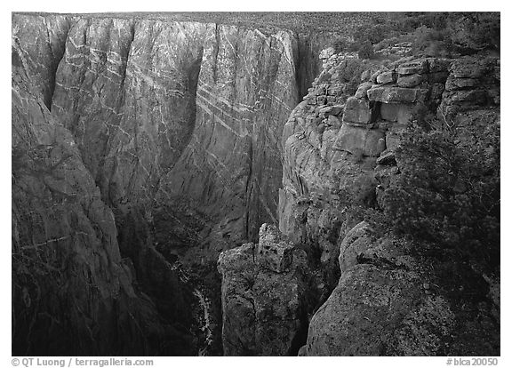 painted wall from Chasm view, North Rim. Black Canyon of the Gunnison National Park (black and white)