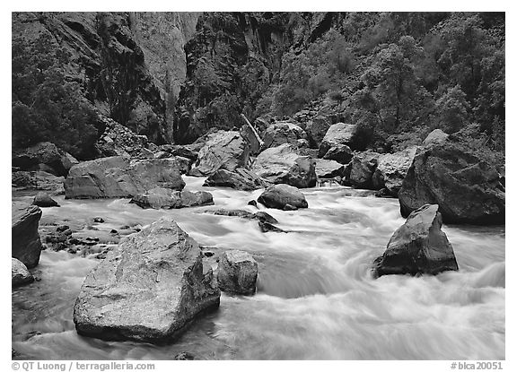 Boulders and rapids of  Gunisson River. Black Canyon of the Gunnison National Park (black and white)