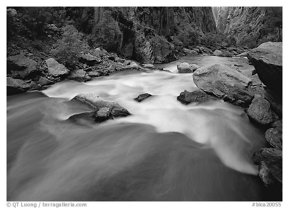 The Gunisson river near the Narrows. Black Canyon of the Gunnison National Park (black and white)