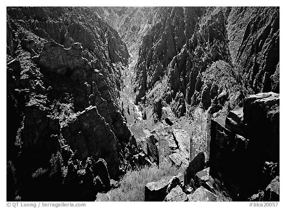 Canyon and river from Island peaks overlook, North rim. Black Canyon of the Gunnison National Park (black and white)