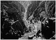 Canyon and river from Island peaks overlook, North rim. Black Canyon of the Gunnison National Park, Colorado, USA. (black and white)