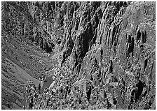 Rock spires and Gunisson River from above. Black Canyon of the Gunnison National Park, Colorado, USA. (black and white)