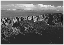 canyon from  North vista trail. Black Canyon of the Gunnison National Park, Colorado, USA. (black and white)