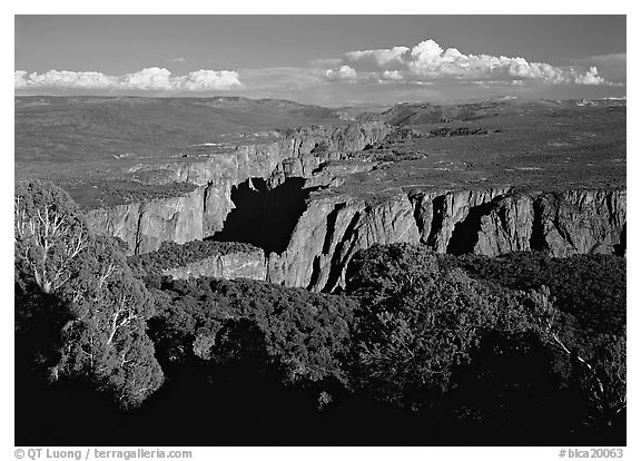 The canyon from the North vista trail. Black Canyon of the Gunnison National Park (black and white)