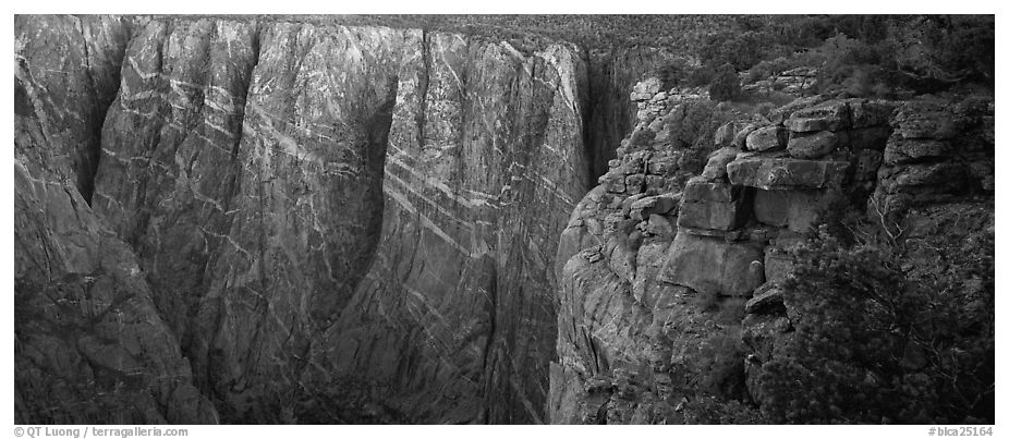 Canyon walls with crystaline striations. Black Canyon of the Gunnison National Park (black and white)