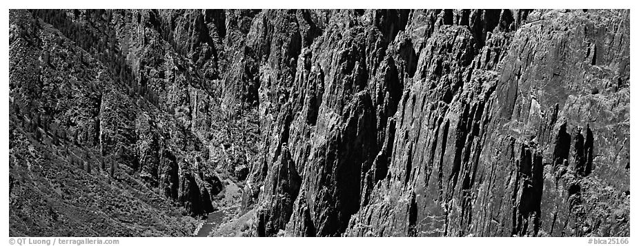Spires and vertical rock walls. Black Canyon of the Gunnison National Park (black and white)