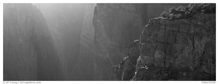 Chasm and light. Black Canyon of the Gunnison National Park (black and white)