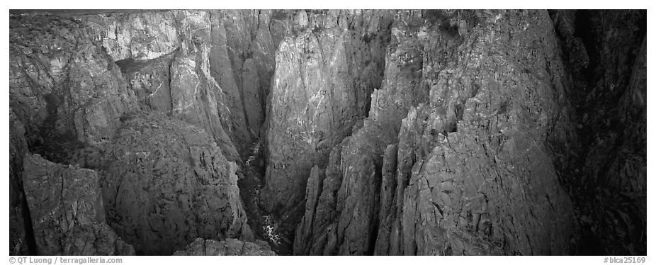 Startling depths and narrow opening of Black Canyon. Black Canyon of the Gunnison National Park (black and white)