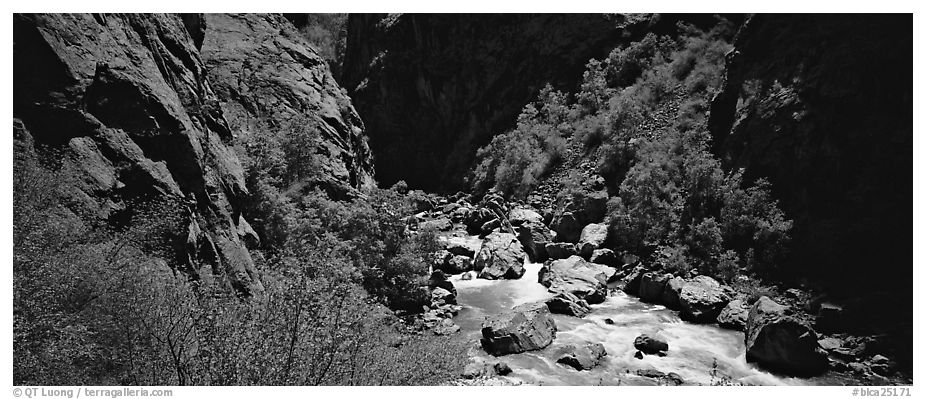 Gorge bottom and Gunnisson River. Black Canyon of the Gunnison National Park (black and white)