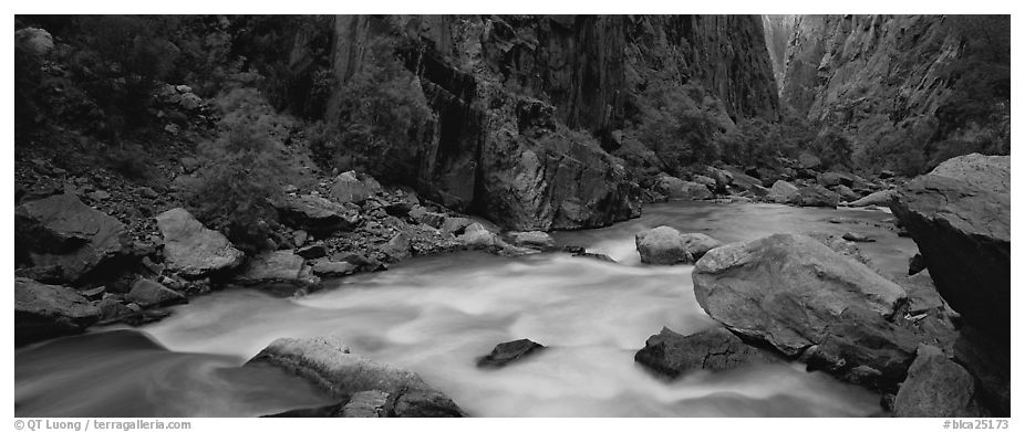 River flowing at bottom of narrows. Black Canyon of the Gunnison National Park (black and white)