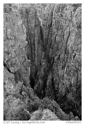 Narrow gorge. Black Canyon of the Gunnison National Park (black and white)