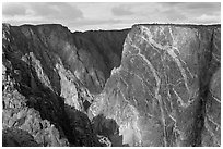 Painted wall from south rim. Black Canyon of the Gunnison National Park, Colorado, USA. (black and white)