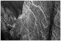 Wall with swirling veins of igneous pegmatite. Black Canyon of the Gunnison National Park, Colorado, USA. (black and white)