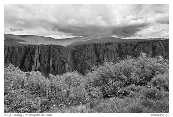 Canyon and storm clouds, Gunnison Point. Black Canyon of the Gunnison National Park (black and white)