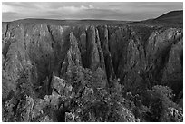 View from Gunnison point. Black Canyon of the Gunnison National Park ( black and white)