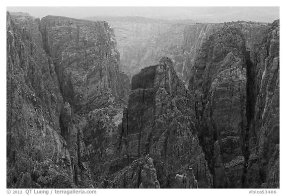 Storm light over canyon. Black Canyon of the Gunnison National Park (black and white)