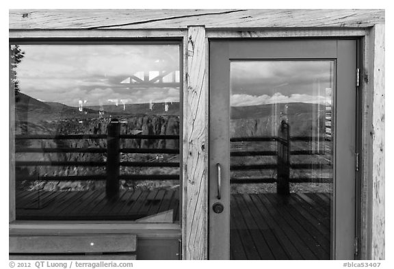 Canyon, South Rim visitor center window reflexion. Black Canyon of the Gunnison National Park (black and white)