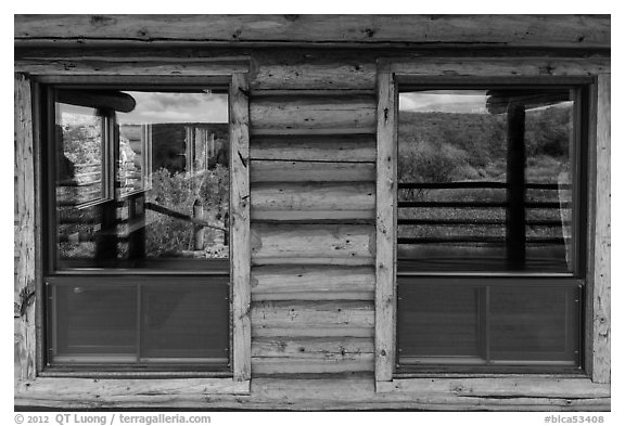 Oak Flats, South Rim visitor center window reflexion. Black Canyon of the Gunnison National Park (black and white)