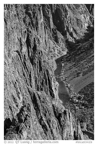 Cliffs and river in autumn. Black Canyon of the Gunnison National Park (black and white)