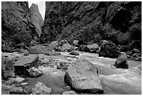 Boulders in  Gunisson river near the Narrows. Black Canyon of the Gunnison National Park, Colorado, USA. (black and white)