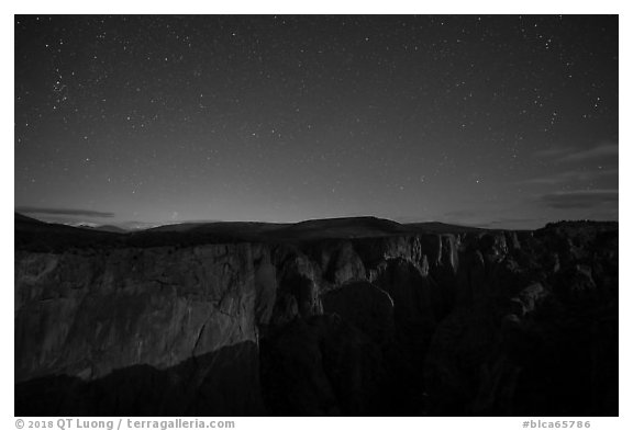 Chasm view at night. Black Canyon of the Gunnison National Park (black and white)