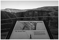 Painted Wall interpretive sign. Black Canyon of the Gunnison National Park ( black and white)