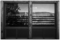 Visitor Center window reflexion. Black Canyon of the Gunnison National Park ( black and white)