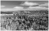 Silent City in Bryce Amphitheater from Bryce Point, morning. Bryce Canyon National Park, Utah, USA. (black and white)