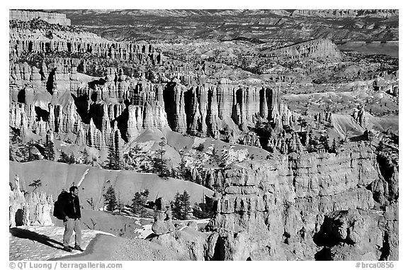 Hiker with panoramic view on Navajo Trail. Bryce Canyon National Park (black and white)