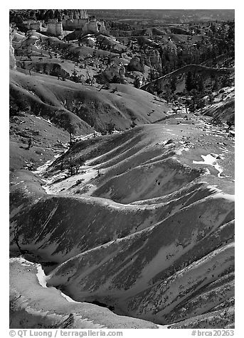 Hill ridges and snow in Bryce Amphitheatre. Bryce Canyon National Park (black and white)