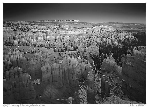 View of Bryce Amphitheater hoodoos from Sunset Point at dusk. Bryce Canyon National Park (black and white)