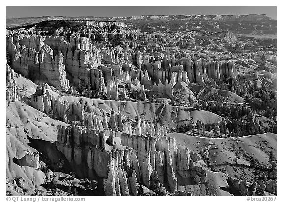 View of Queens Garden spires from Sunset Point, morning. Bryce Canyon National Park (black and white)