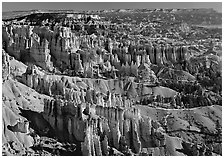View of Queens Garden spires from Sunset Point, morning. Bryce Canyon National Park ( black and white)