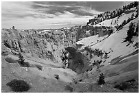 Natural Bridge in winter. Bryce Canyon National Park ( black and white)