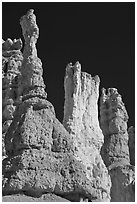 Hoodoos subject to chemical weathering by carbonic acid. Bryce Canyon National Park ( black and white)