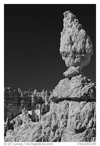 Balanced rock in pink limestone. Bryce Canyon National Park (black and white)