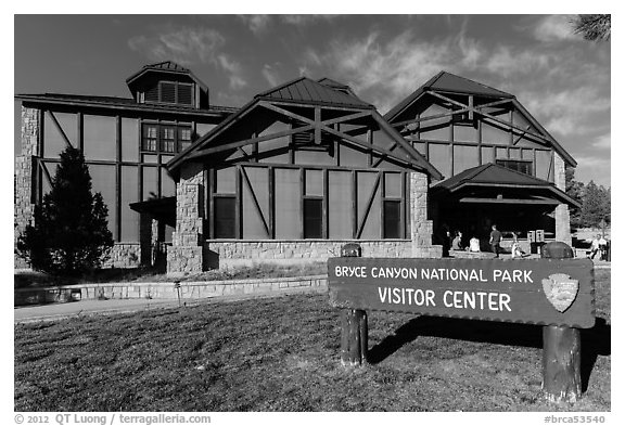 Visitor center. Bryce Canyon National Park (black and white)