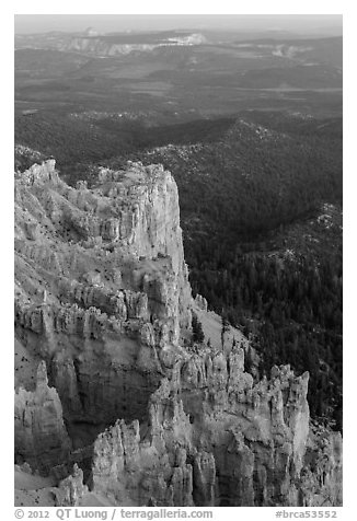 Rock formations and forest near Yovimpa Point. Bryce Canyon National Park (black and white)