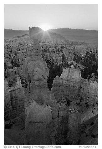 Sun rising behind Thor Hammer. Bryce Canyon National Park (black and white)