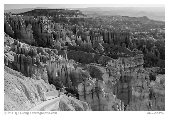 Park visitor looking from Navajo trail. Bryce Canyon National Park (black and white)