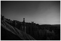 Thor Hammer and amphitheater at night. Bryce Canyon National Park ( black and white)