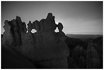 Hoodoos at night with backlight from moon. Bryce Canyon National Park ( black and white)