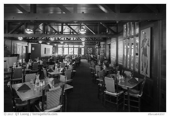 Dining room, Bryce Canyon Lodge. Bryce Canyon National Park (black and white)