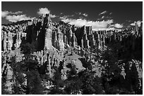 Hill with hoodoos along Fairyland Loop. Bryce Canyon National Park ( black and white)